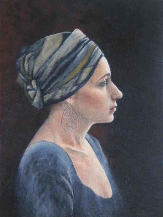 Side angle portrait of a girl wearing a turban, painted in the style of a Dutch Master