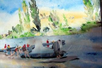 "D Anna Buck ""Canoeists"" mixed media 72 x 87 cm"