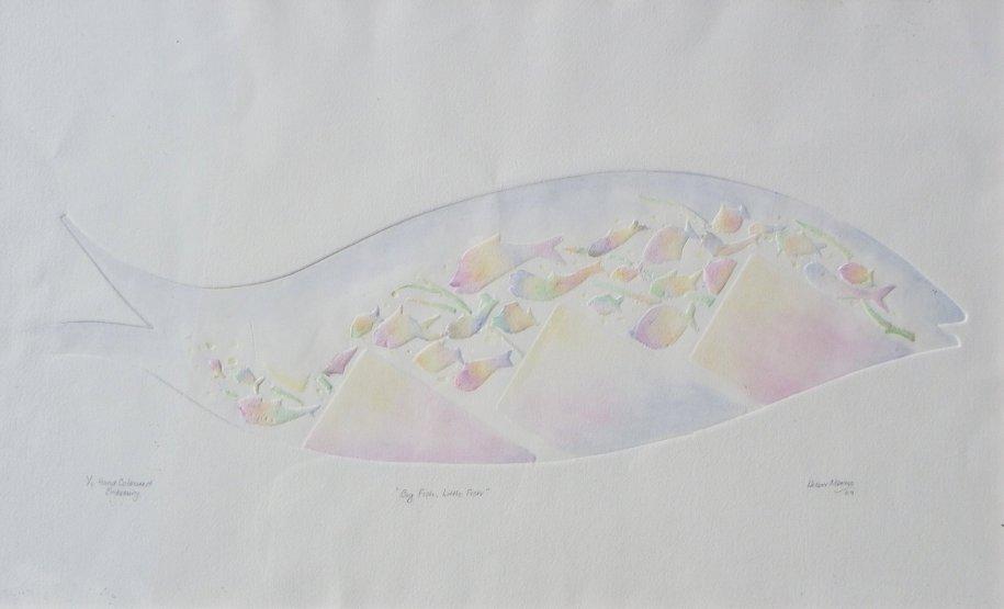"X Helen Morris ""Big Fish Little Fish"" 37 x 56 cm"