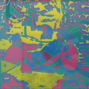 "R Doris-Kruse Hoyne ""Dejeuner Sur L'Herbe"" after Edward Manet Lino reduction print 30 x 30 cm"