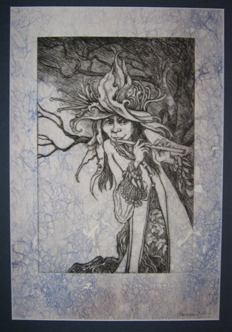 "T Naomi Lewis ""Chloe, Goddess of All Green Things"" Drypoint print 30 x 43 cm"